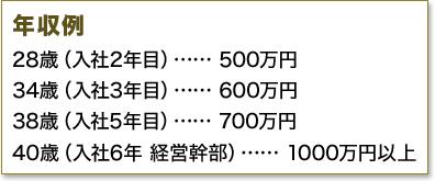 年収例 28歳(入社2年目)…… 500万円 34歳(入社3年目)…… 600万円 38歳(入社5年目)…… 700万円 40歳(入社6年 経営幹部)…… 1000万円以上