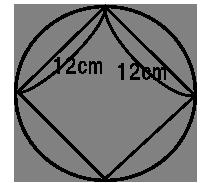 円の中に1辺の長さが12cmの正方形を描いたもの